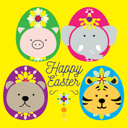 taping: Big 4 dressed up as easter egg paraded for easter celebration. Cute 4 mammals pig, bear, elephant and tiger light the Mardi gras up with lovely costume easter egg entertain people for the holy season.
