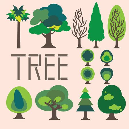 Collection of simple graphic trees, green trees and dried tree are showing structure of nature plant.