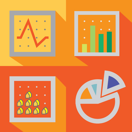 4 types of graph in traditional style are create with simple elements. General graphs are provide both in-depth information and overview information about number, trend, quantity and etc.