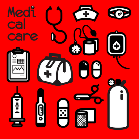 infirmary: Collection of medical tools meets the first aid need that doctor and nurse alway use to cure patient at the infirmary. Itâ??s also call first aid kit. Illustration