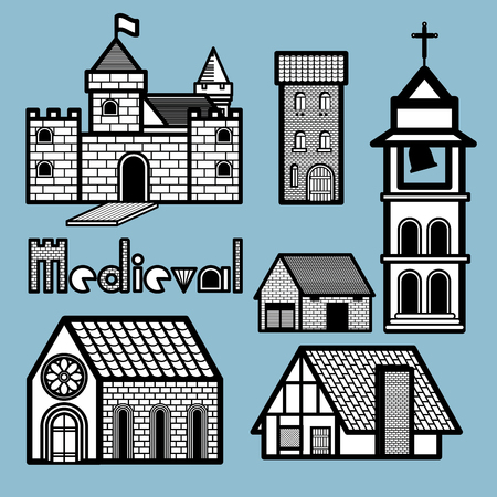 belfry: Many kinds of medieval architecture are depicted in this picture to show variety of building in medieval age. Different kinds of building have similar material in architecture structure using bricks, wood, ceramics, glasses and metal.