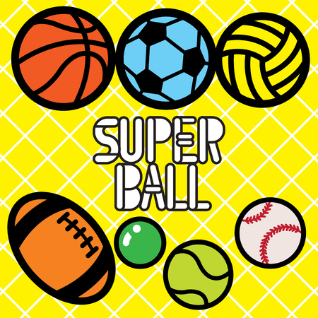 Super colourful balls are icons for popular sports that most kids are always have special class to practice for their hobby for example basketball, tennis, volleyball, American-football, baseball, table tennis and football (soccer)
