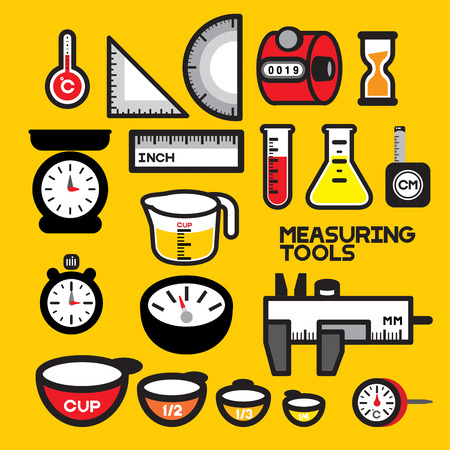 collection of devices for measuring physical or quantity. All instruments are always used for Laboratory work, handicraft work, cooking work Illustration
