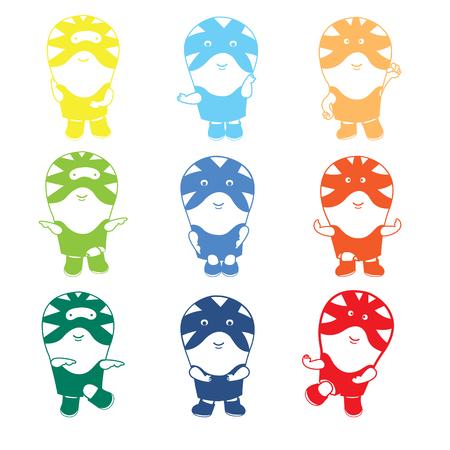 set of little kid wrestlers wearing tiger combat suits pose for 16 action. Illustration