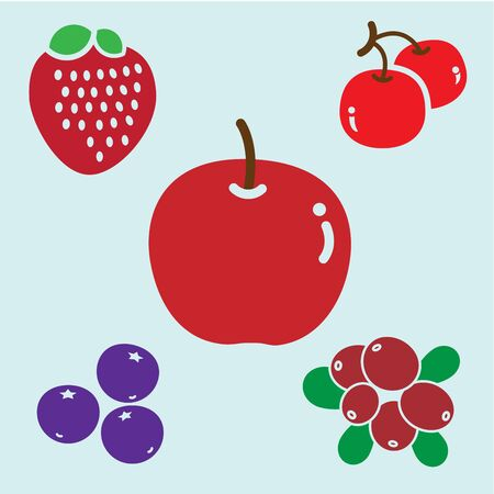 group of berries and animal consist of red apple, blueberry, strawberry,  cranberry and cheery