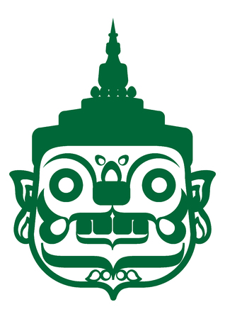 Green giant face is depicted with a characteristic face. It have big round bulging eyes and protruding fangs. Decorating with simple design ornaments shows how imposing it is.