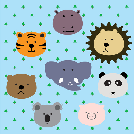 group of wild animal such as elephant, lion, panda, pig, koala, bear, tiger, rhino faces are welcome people to visit their forest. Illustration