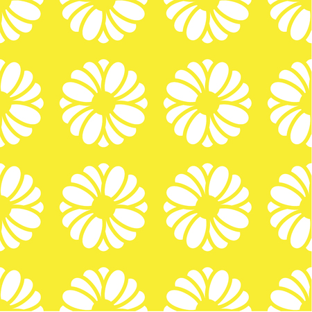 White flower graphic is on light yellow background. This pattern can be used for textile, carpet, wallpaper, curtain and etc.