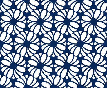 screen partition: White flower graphic is on dark blue background. This pattern can be used for textile, carpet, wallpaper, curtain and etc.