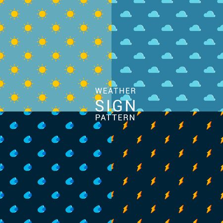 4 simple graphic of weather icons on different shades of blue background. It can be used as seamless pattern.