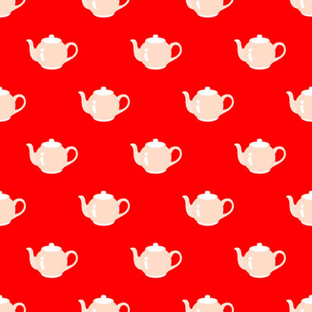 Teapots arranged in a pattern on a red background.