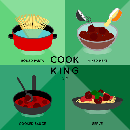 Cook King six illustrate how to cook spaghetti meat ball. Illustration