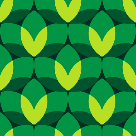 Abstract seamless big green leaf pattern on the dark green background.