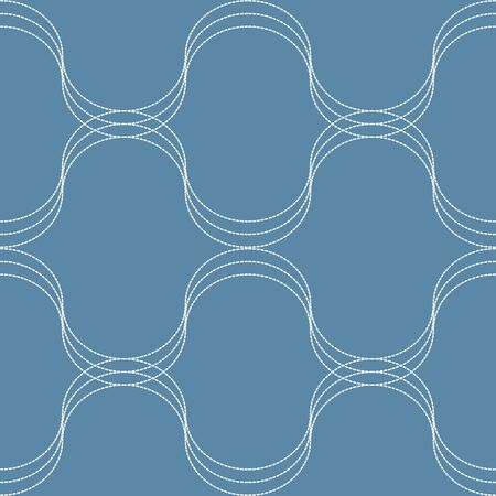 screen partition: White seamless dashed line simple graphic is on blue background. This pattern can be used for textile, carpet, wallpaper, curtain, monitor wallpaper, banner and etc. Illustration