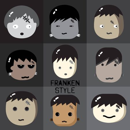 Yearly celebration with Frankenstein avatar, different face with same Frankenstein sign such as hair do, eyes, mechanic items. 向量圖像