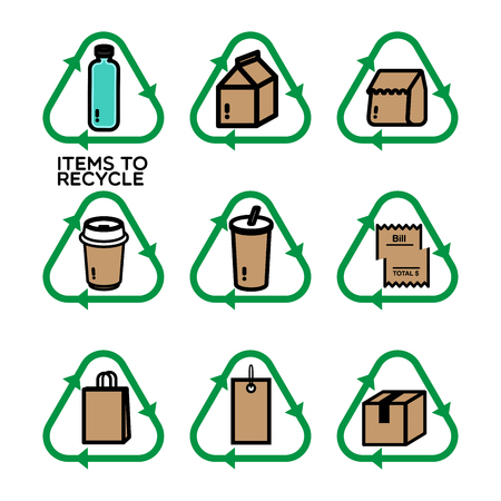 Recycle icon in green with different things that should be recycled such as food container, paper, plastic and etc.