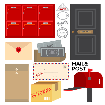 Flat icon graphic about post and mail. Illustration