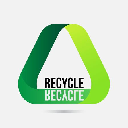 Recycle icon in gradient green color with reflection of recycle word. Çizim