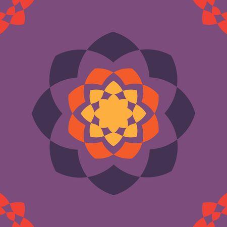 紫色の背景にオレンジ色、シームレスなパターンのグラフィック パターンを飾り。このパターンは、ファブリック、壁紙、カーテン、タイル等に使  イラスト・ベクター素材