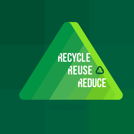 Reuse Reduce and Recycle words green graphic background. Çizim