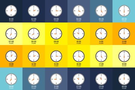 Clocks shows what time it is on different color background. Every hour is indicate with number.