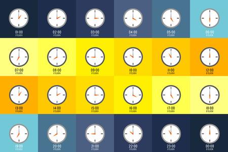 시계는 다른 색상 배경의 시간을 보여줍니다. 매시간은 숫자로 표시됩니다.