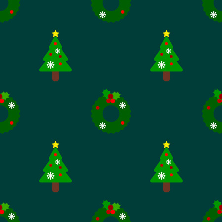 Green christmas tree and wreath are set as a seamless pattern on green background for christmas season.