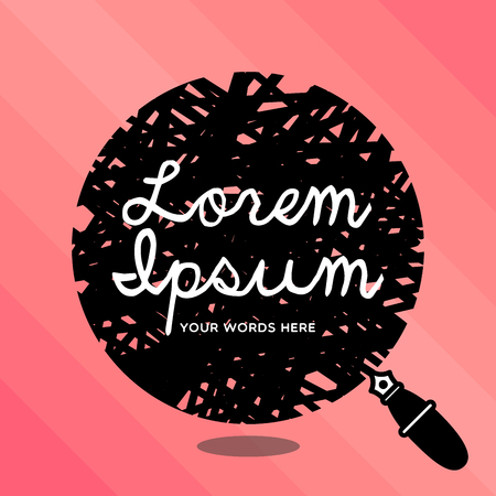Bubble icon in black with classic fountain pen on light pink background with lorem ipsum word or place your own words instead.
