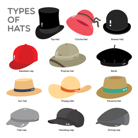 Different types of Hat are illustrate in color on white background.