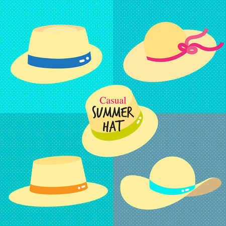 Straw casual summer hats with color ribbon. Light weight straw hats illustrated in different style to shade the face and shoulder from sun from summer time!