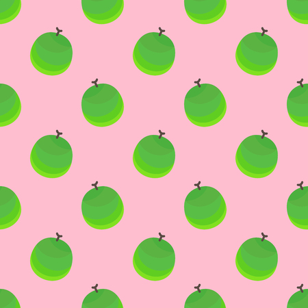 Round green cantaloup or sweet melon with brown stem are set as a seamless pattern on light pink background. This can be used for wallpaper, fabric, background, print, wrap paper, curtain, tile and etc.