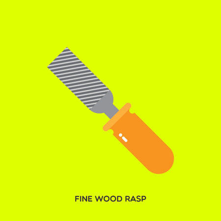 Metal hand wood rasp with yellow handle, typical mechanic tool on a light green background.  Illustration