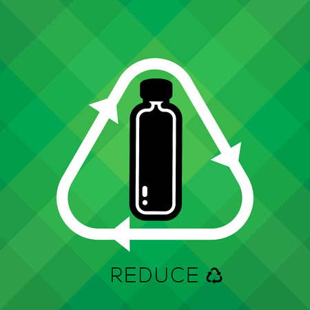 Recycle sign with bottle icon and reduce word is remind people to reduce using plastic bottle for a good environmental, eco friendly system. educe, reuse, recycle set.