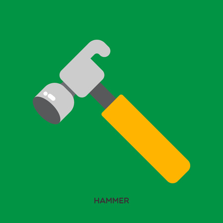Hammer with yellow handle, typical mechanic tool on a green background.  Stock Illustratie