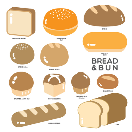 Different kinds of bread, bun and roll in golden color illustrated in simple graphic on white background.