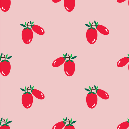 Goji berry with green leaves on light pink background. It is set as a seamless pattern and can be used for fabric, background, print, wallpaper, wrap paper, curtain, tile and etc. Illustration
