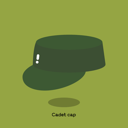 Green olive canvas cadet cap on light green background. It is a soft kepi with flat top, round visor and it is also called patrol cap or field cap.