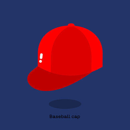Red baseball cap on bright blue background. Soft cap with a round crown and a peak projecting in front. Free space at the front of the cap typically contains logos.