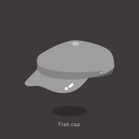 Light grey fabric flat cap on dark grey background. Fabric round cap with small brim in front. This cap are also called derby hat, jack cap,