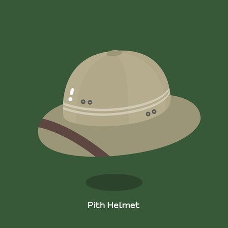 Light weight cloth-covered helmet made of pith material also known as safari helmet. Brown color pith helmet and hard brim illustrated on green background.