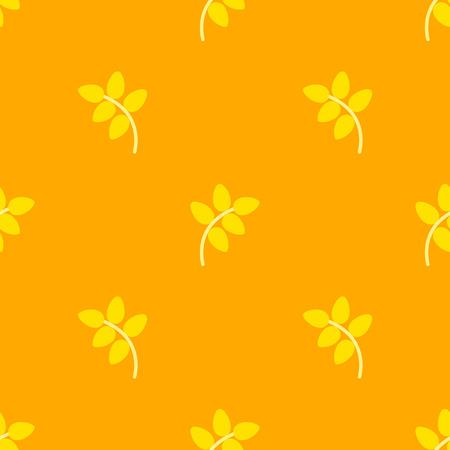 Flat simple bright yellow rye corp on orange pattern.