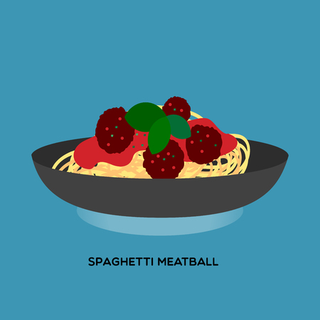 Illustrate of spaghetti meatball serve with meat ball and tomato sauce on blue background.  イラスト・ベクター素材