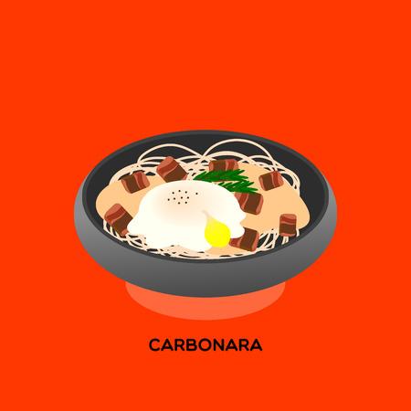 Illustrate of spaghetti carbonara server with posh egg and crispy bacon on grey earth-ware  on orange background.
