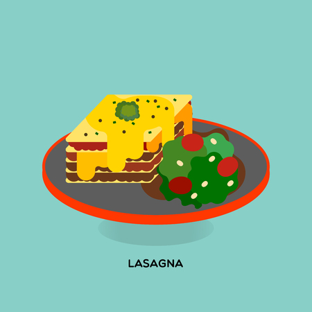 Illustrate of baked lasagna served with roux, tomato sauce and salad on light blue background.
