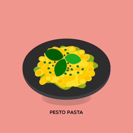 Illustrate of green pesto pasta served with green basil and pesto sauce on light pink background.