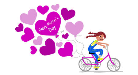 Mothers Day - Cute girl in dungarees with pigtails on a bike gives her mother a bunch of heart balloons - Card horizontal - Handdrawn illustration Иллюстрация