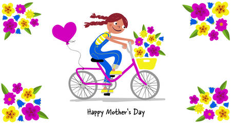Mothers Day - Cute girl in dungarees with pigtails on a bike gives her mothers a bunsch of flowers - Card horizontal - Handdrawn illustration