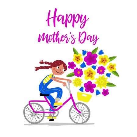Mothers Day - Cute girl in dungarees with pigtails on a bike gives her mothers flowers as a present - Card horizontal - Handdrawn illustration