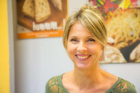 portrait of a smiling blond woman Standard-Bild