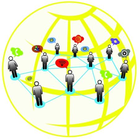 Global networking around the world Illustration